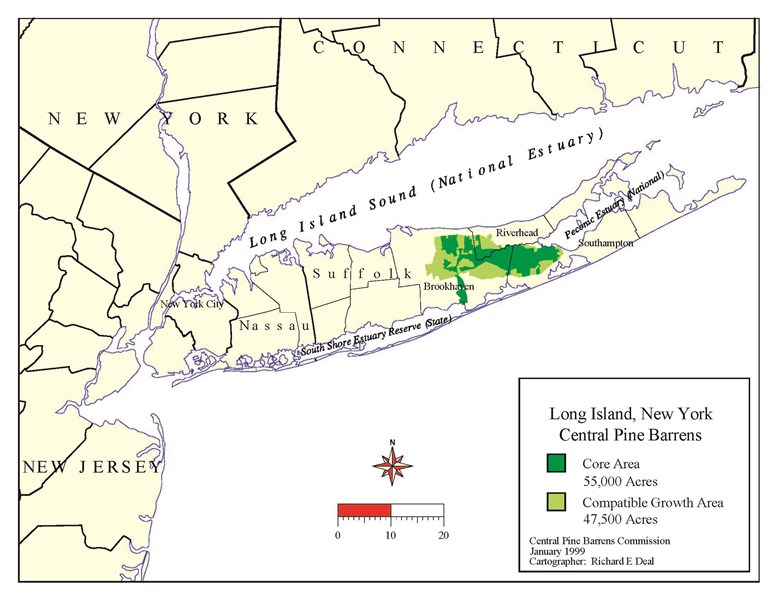 Pine Barrens location on Long Island